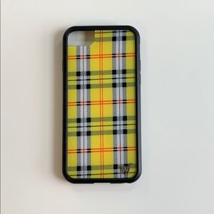 Yellow Plaid I phone 6/7/8 case- wildflower